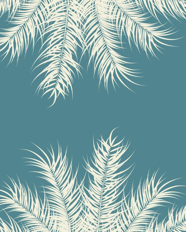 Tropical design with vanilla palm leaves and plants on blue back