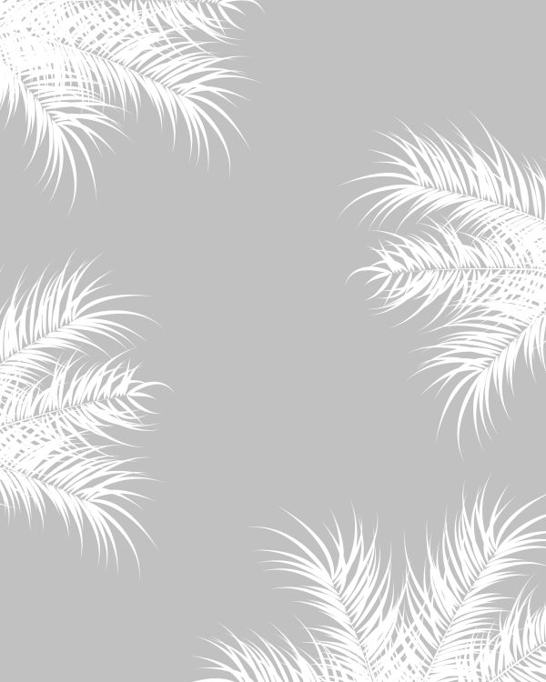 Tropical design with white palm leaves and plants on gray backgr