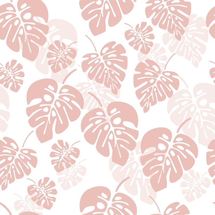 Summer seamless pattern with pink monstera palm leaves on white