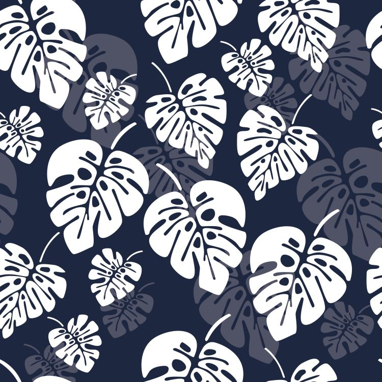 Summer seamless pattern with white monstera palm leaves on blue