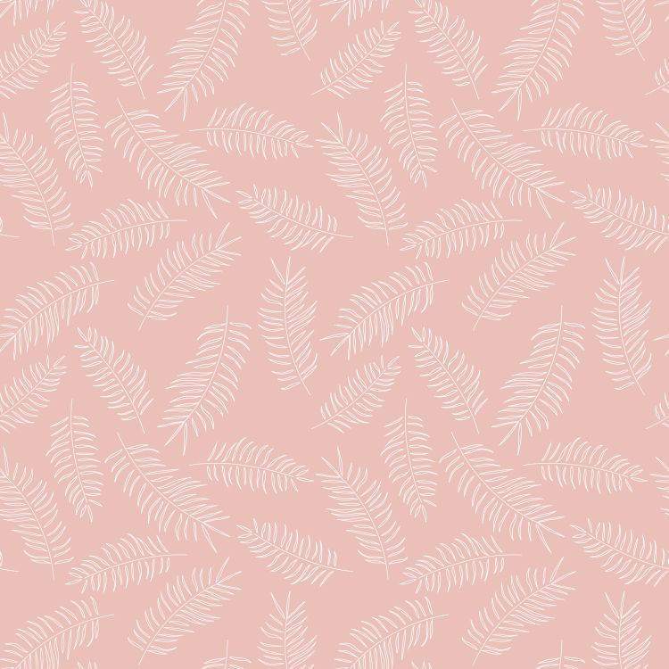 Seamless pattern with white tropical leaves on pink background