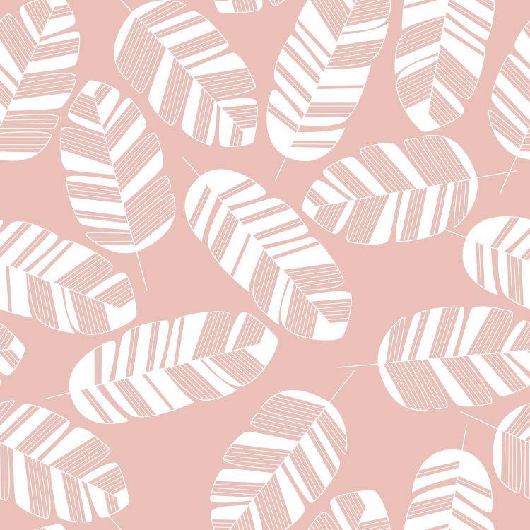 Seamless pattern with white leaves on pink background
