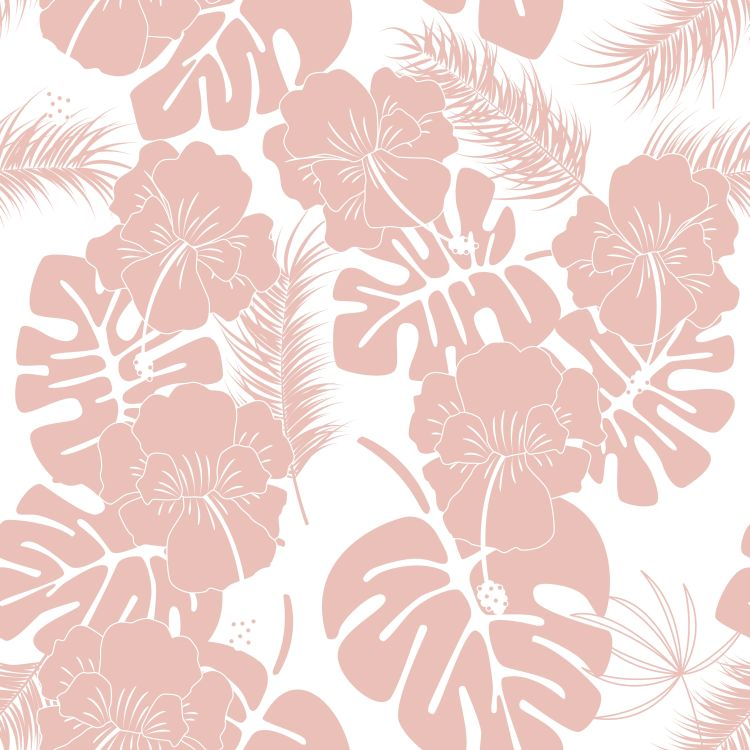 Seamless tropical pattern with pink monstera leaves and flowers