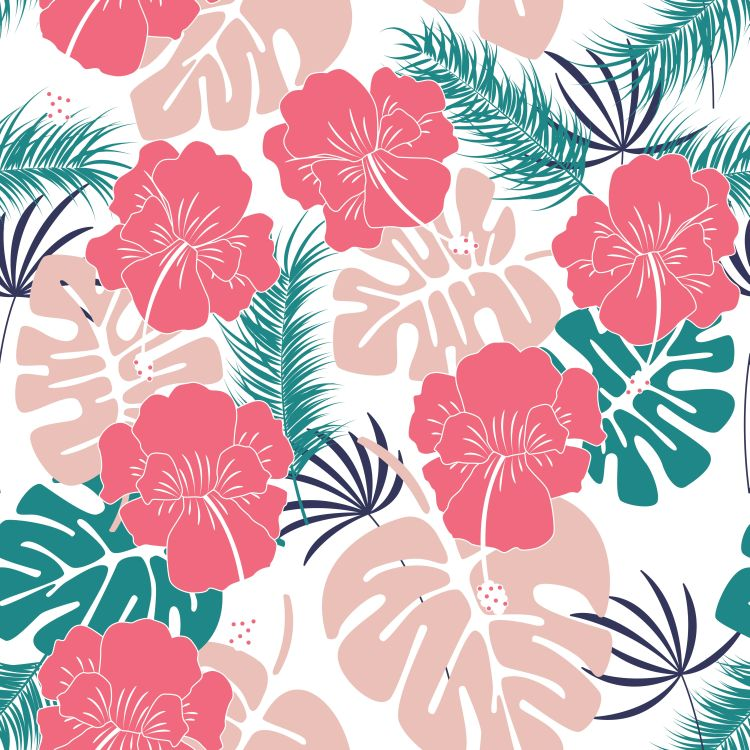 Seamless tropical pattern with monstera leaves and flowers on wh