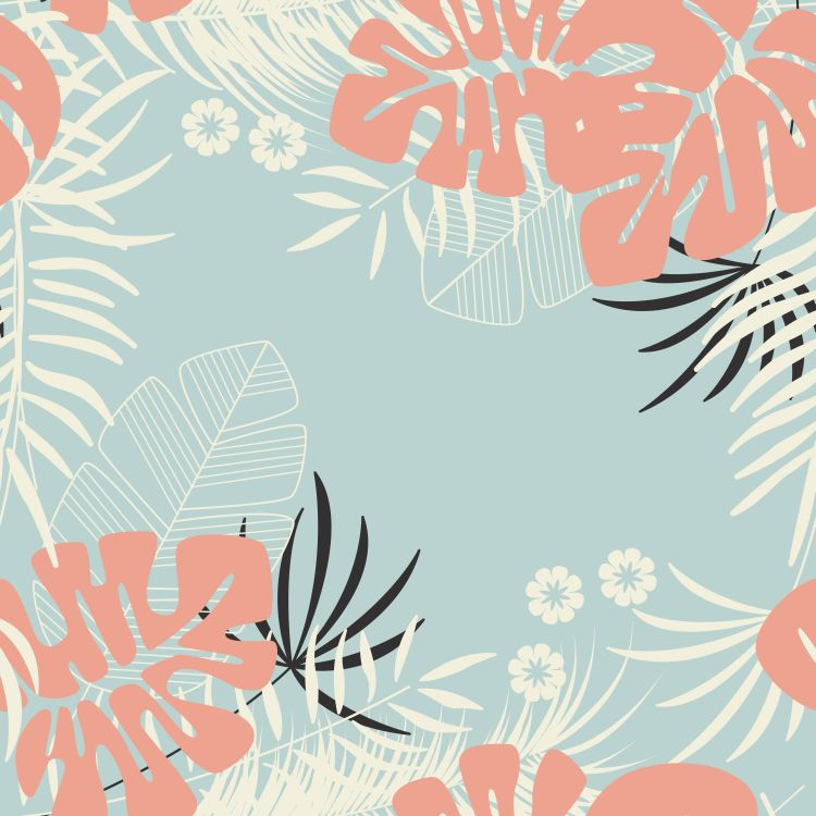 Summer seamless tropical pattern with monstera palm leaves, plan