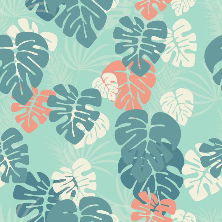 Seamless pattern with monstera palm leaves and plants on blue ba