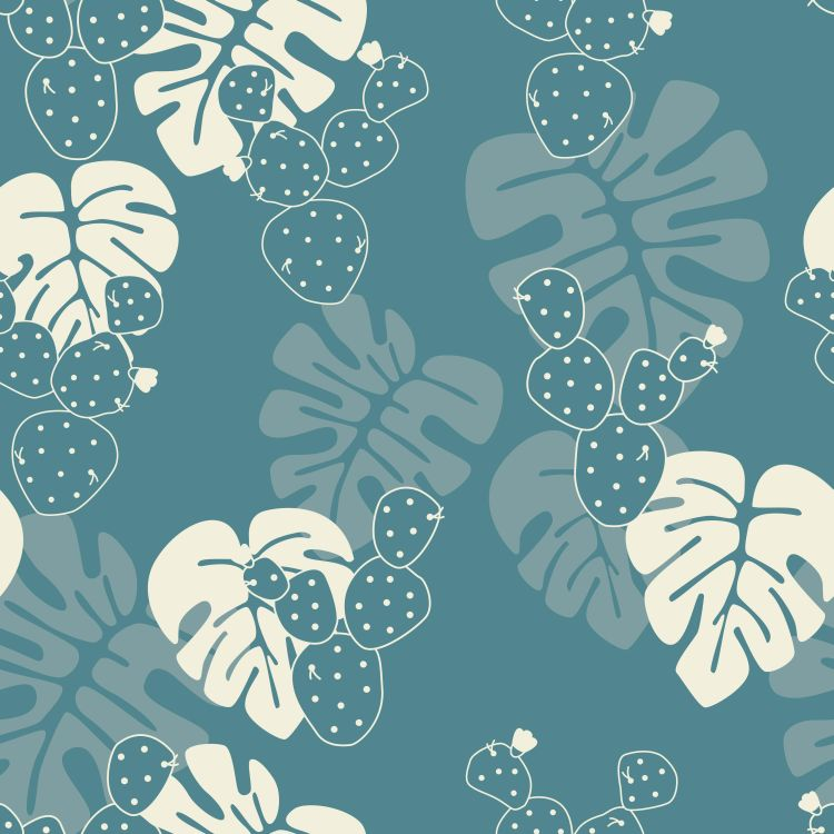 Seamless tropical pattern with monstera palm leaves, and cactus