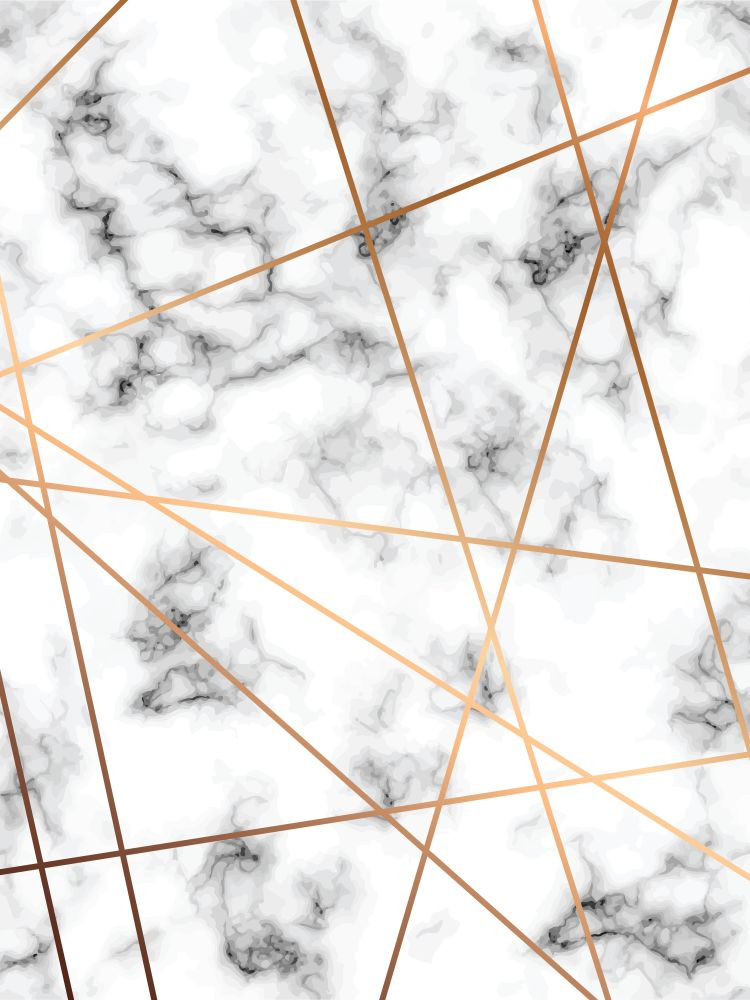 Vector marble texture design with golden geometric lines, black