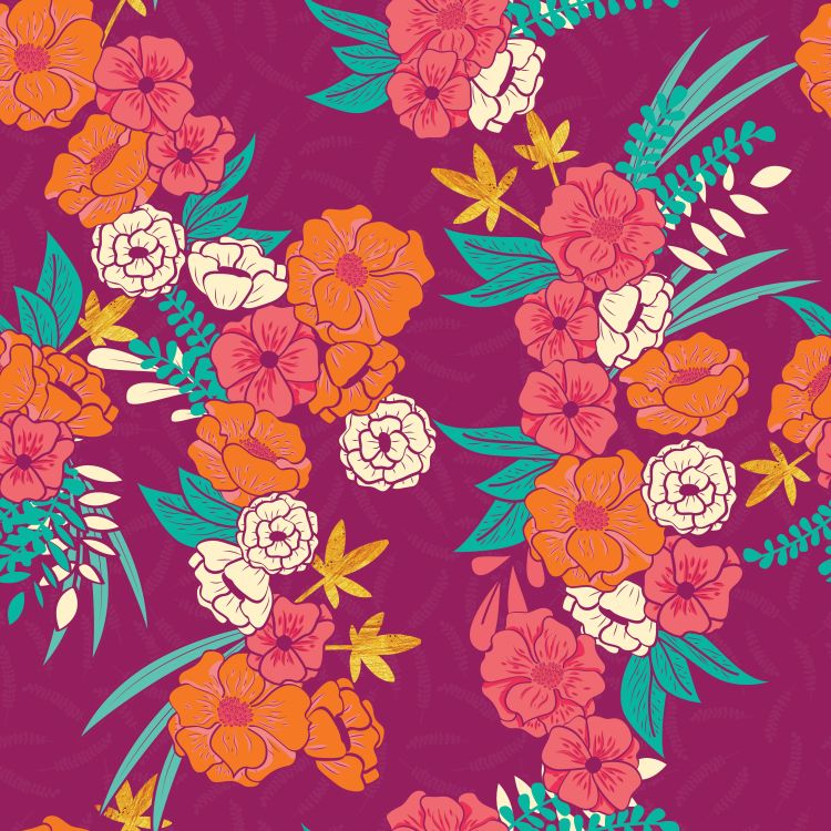 Floral jungle with snakes seamless pattern, tropical flowers and