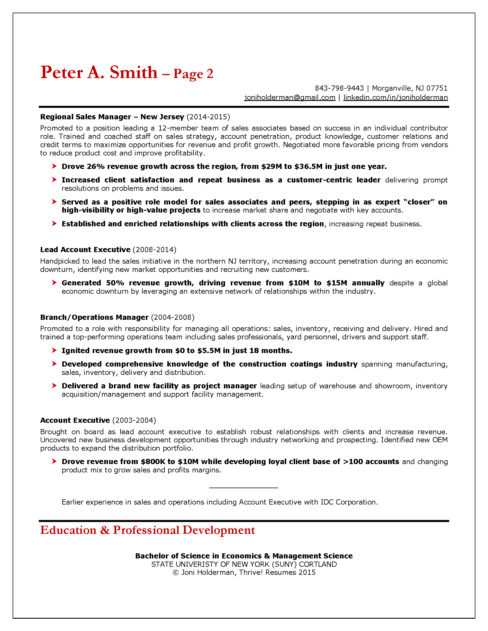 Sales Resume Example with Charts — Thrive! Resumes