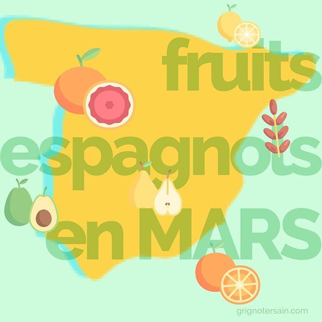 D'origine France nous allons surtout retrouver des pommes et des poires en cette saisons. Cela dit, sachez qu'il a aussi des fruits de saison en Espagne (oui oui). Difficile de trouvez des oranges sanguines locales n'est-ce pas ? Dattes, citrons, oranges sanguines, poires, clémentines et avocats. Si possible, pensez à les choisir bio ! #fruitsdesaison #espagne #grignotersain #mangersain #healthylifestyle #lyon #paris #marseille #mangerbouger #lesaviezvous #calendrierdesfruits #mars #bienmanger