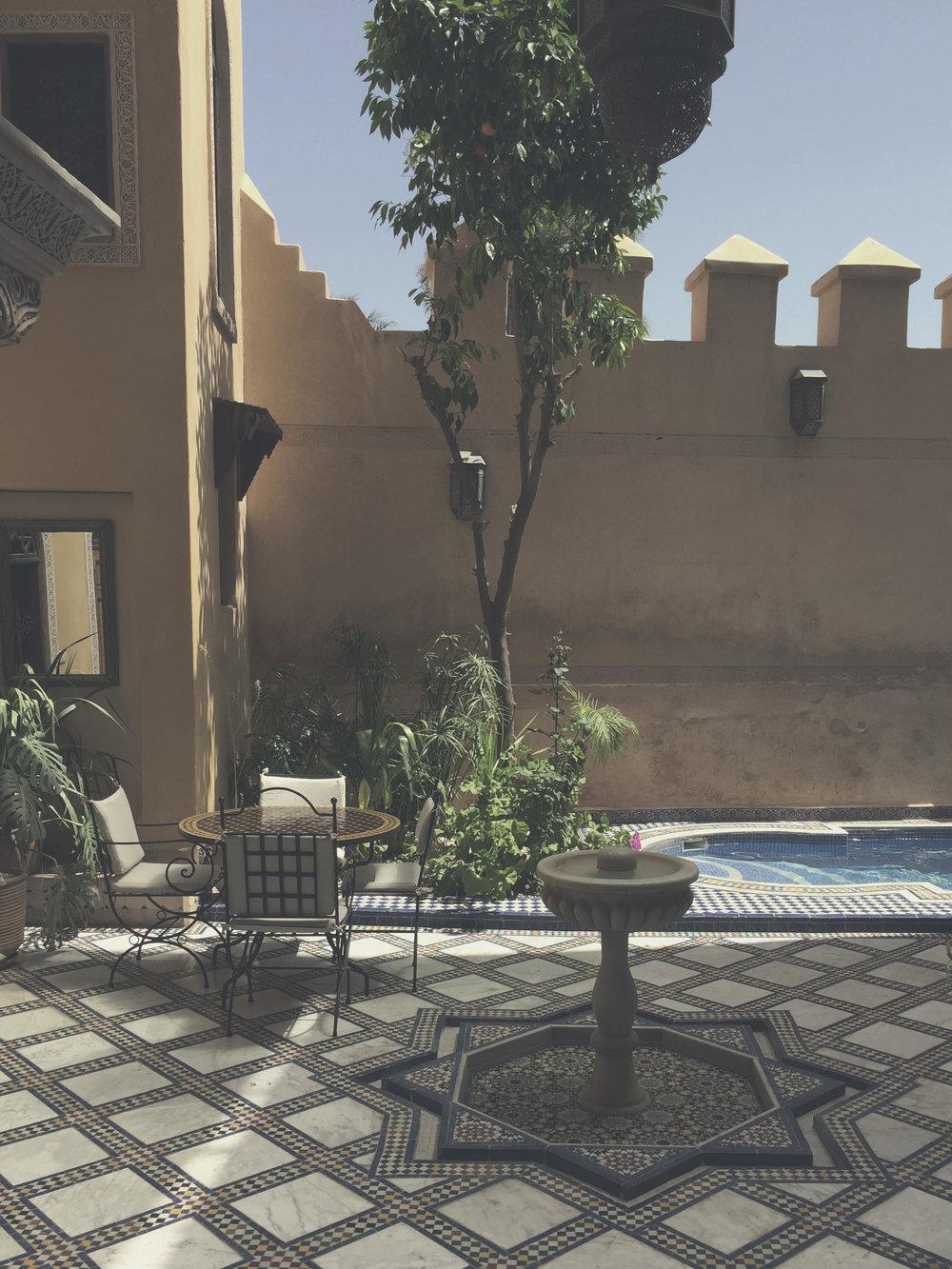 Intricate tile work in Riad Layalina