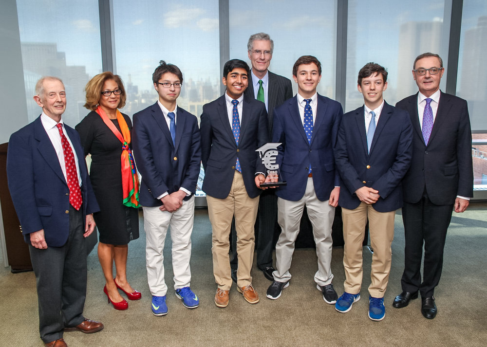 The winning team, St. Alban's School, at the Moody's Reception on April 26th, 2018.