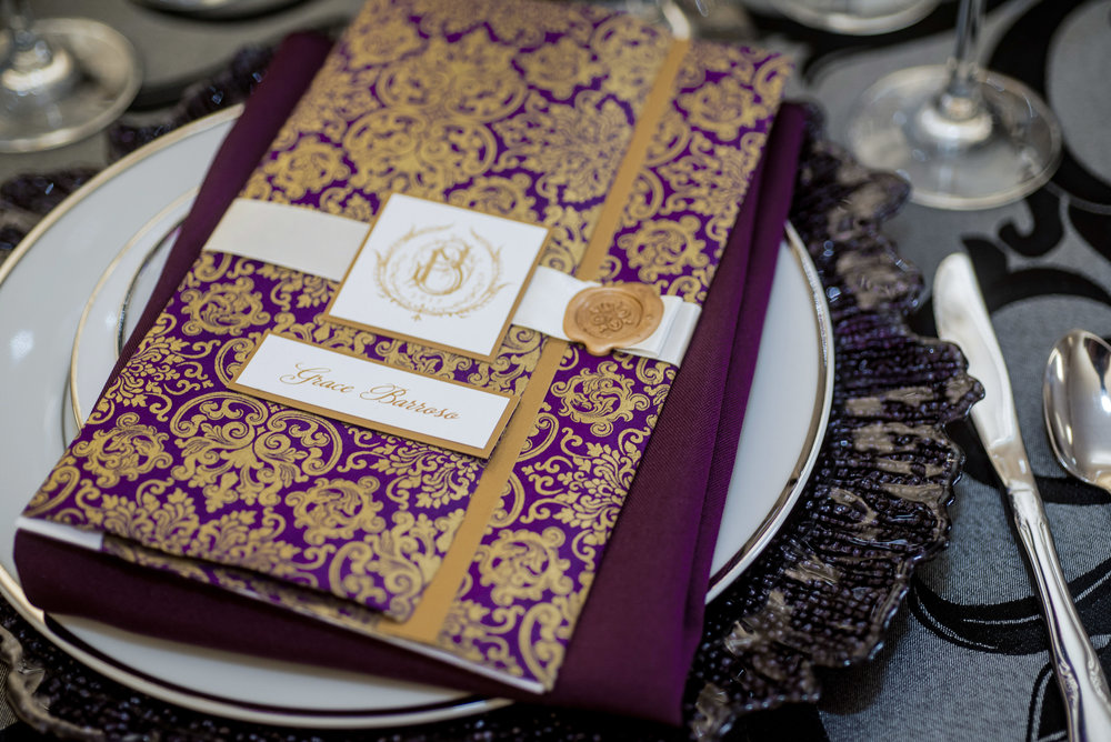 event-design-custom--menus-reception-elegant-gold-purple-thermography.jpg
