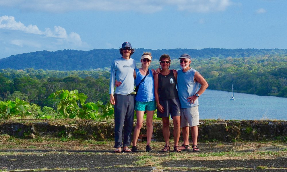 Changing of the guard at Fort San Lorenzo, Panama. From right to left; Esprit, Chay, Katie, Quincey, Mitchell.