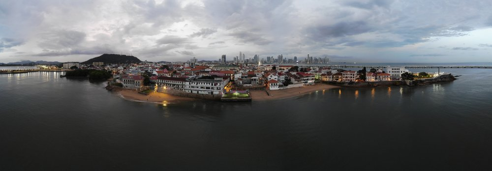 Old Town Panama in front of the towering New Town
