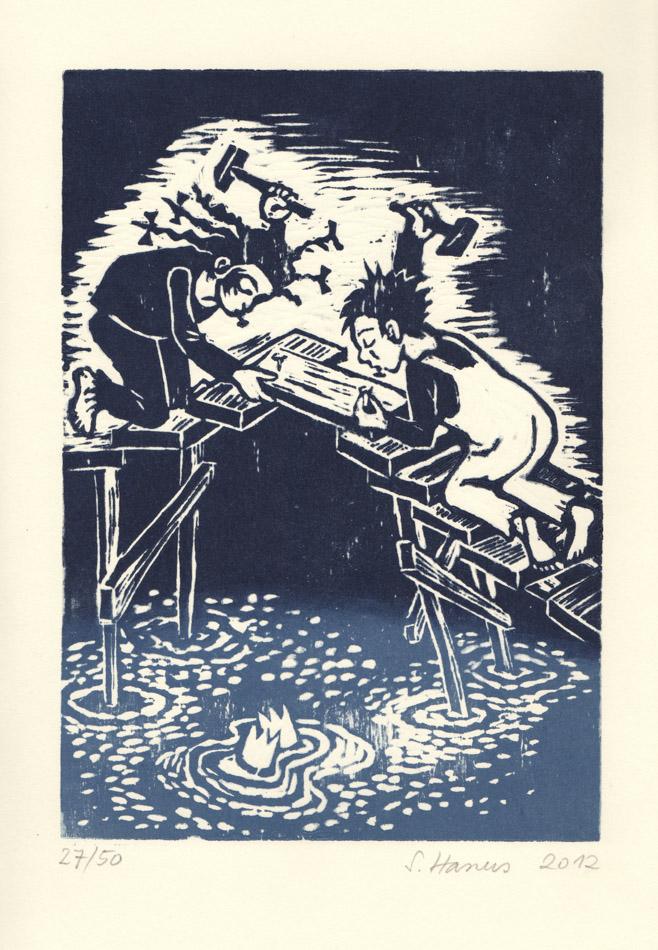 """Linolschnitt für das Künstlerbuch """"7 Gedichte, 7 Bilder"""", erschienen im Autumnus Verlag, 2014"""