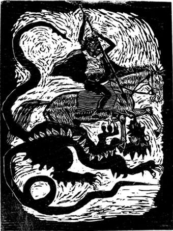 Sao Jorge / Der heilige Georg  1996, Neudruck auf Büttenpapier (Auflage von 5) 2011  Foto: Quirin Empl