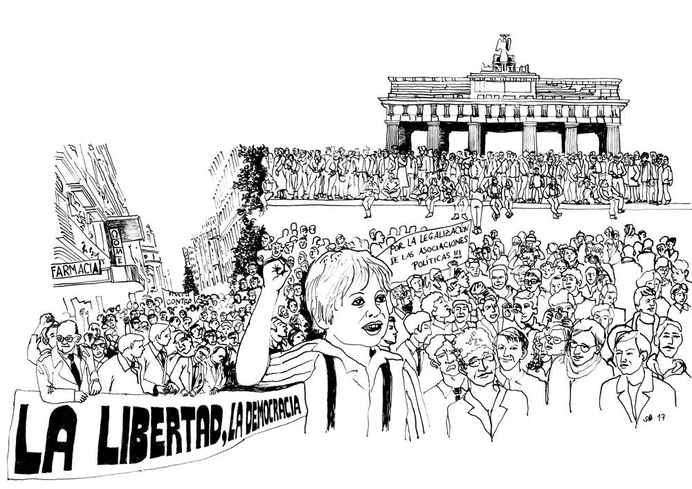 Zwischen Aufbruch und Krise – Narrative Auseinandersetzungen mit der spanischen Transición und der deutschen 'Wende'  Zeichnung für das Veranstaltungsplakat Januar 2018, Universität Paderborn