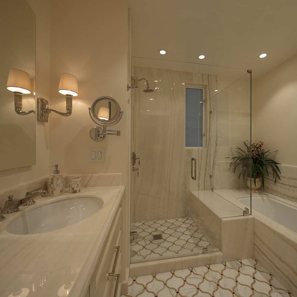 Hyde Street Condo Master Bath Onyx Shower - San Francisco, California