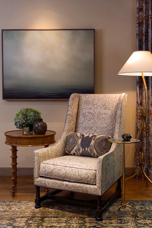 Traditional Living Room with Designer Furniture - Hillsborough, California