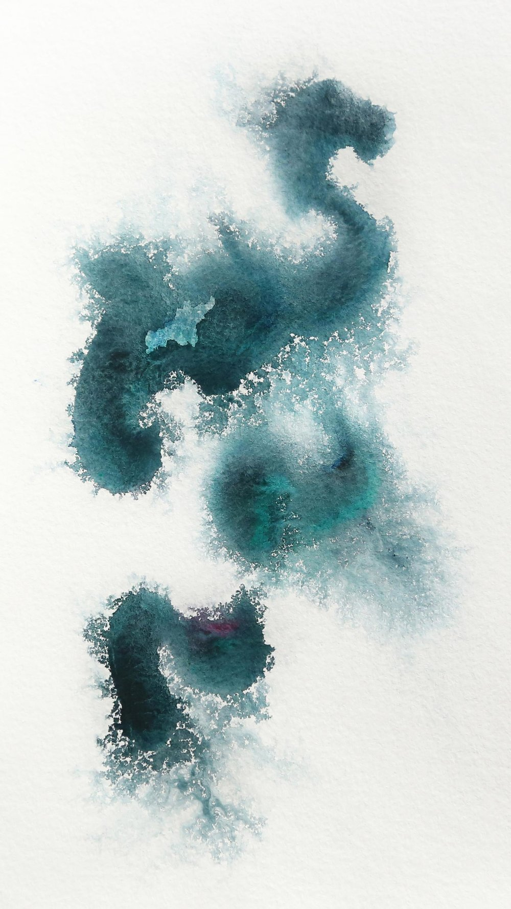 Silk, strands, 2016. Watercolor on Paper, 6x12
