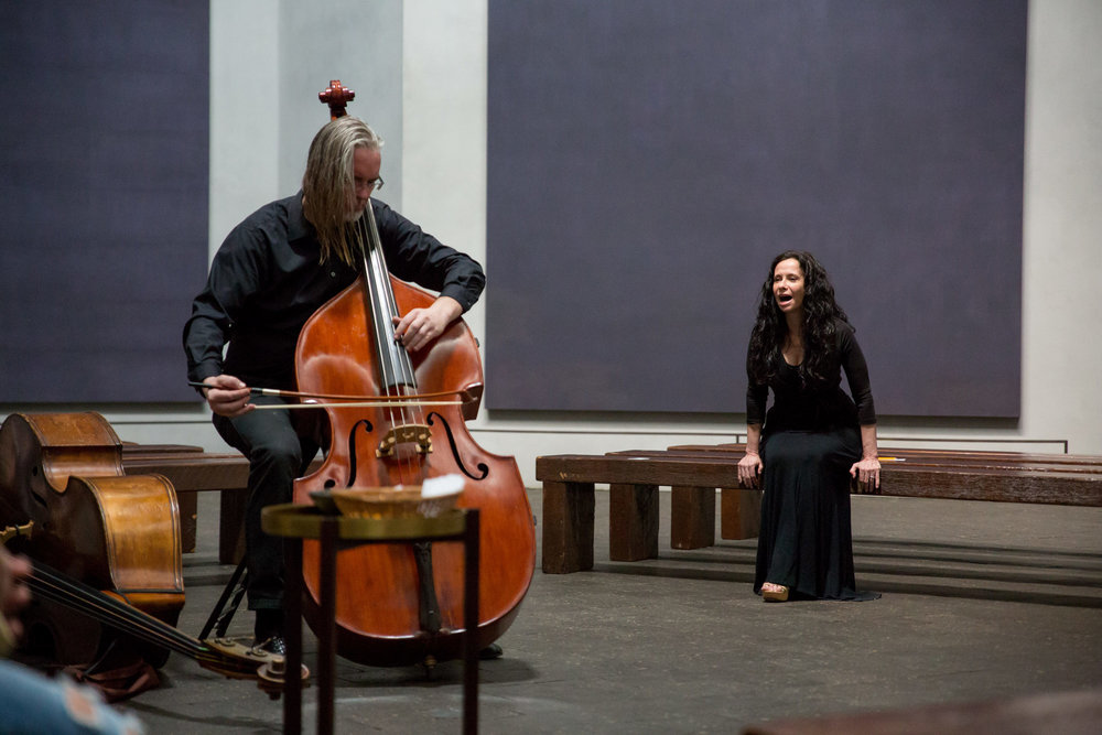 Anecdote of the Spirit at The Rothko Chapel. Misha Penton, soprano & concept. Thomas Helton, double bass. MenilFest 2017. Photo: Runaway Productions
