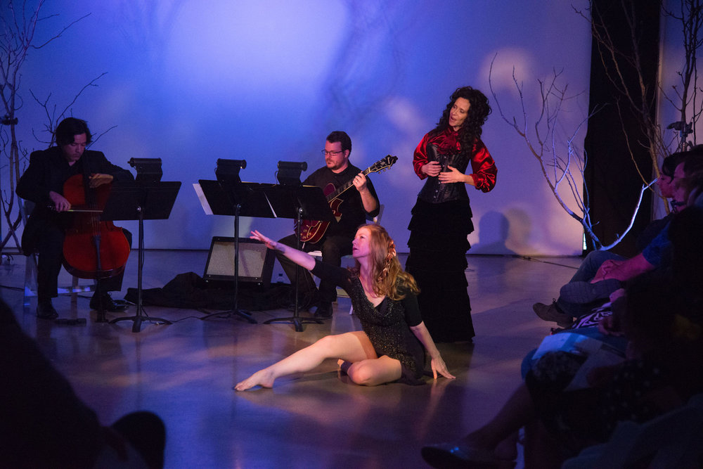 ravens & radishes. Misha Penton, soprano, concept, text. George Heathco, music. Meg Brooker, dancer Daniel Saenz, cello. Photo: David DeHoyos