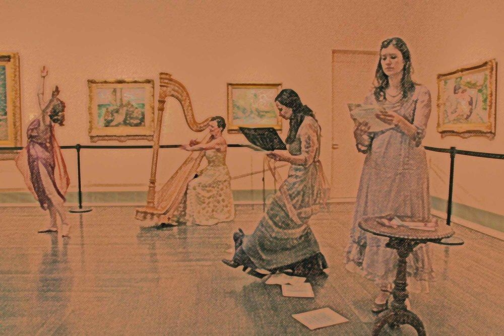 Voix et Harpe , French art song, poetry and dance at the Museum of Fine Arts Houston.Misha Penton, soprano, concept, artistic director, translations. Meg Brooker, dancer and choreographer.Joanna Elliot Whitsett, harp. Miranda Carol Morris, actor