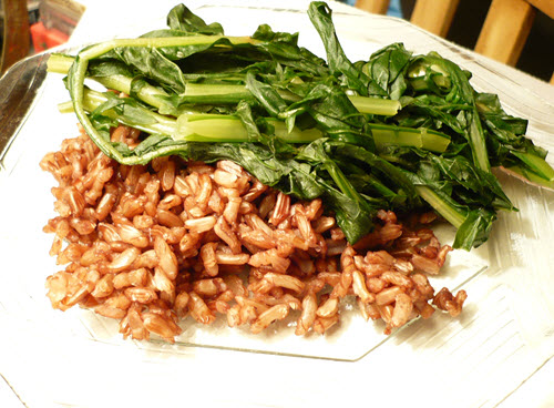 Wehani rice with sauteed dandelion greens