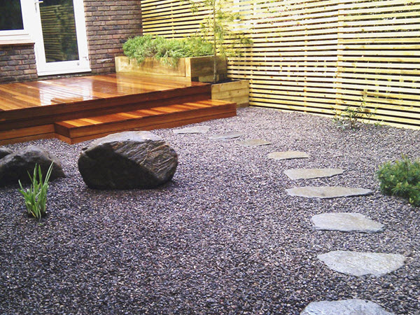 Slate chippings used to landscape a garden; Photo Source: milesstone.co.uk