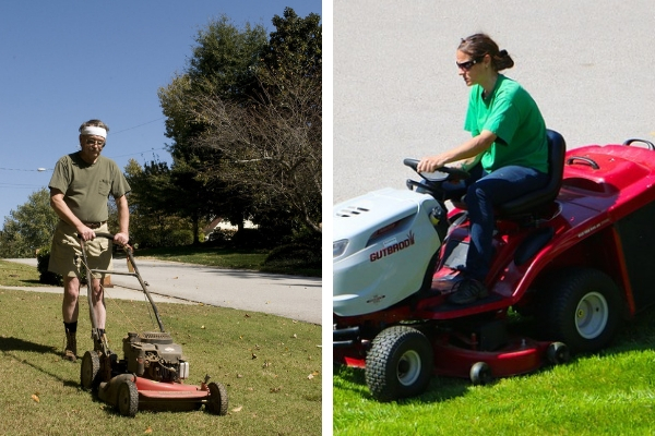 A push lawn mower versus a ride-on lawnmower