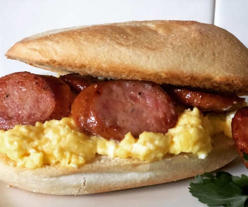 DRM Polish Sausage & Egg Breakfast Sandwich