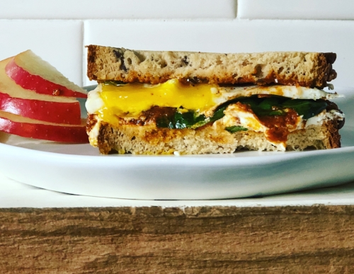 DRM Goat Cheese & Egg Breakfast Sandwich on Multigrain Bread *Featured here with gluten-free bread