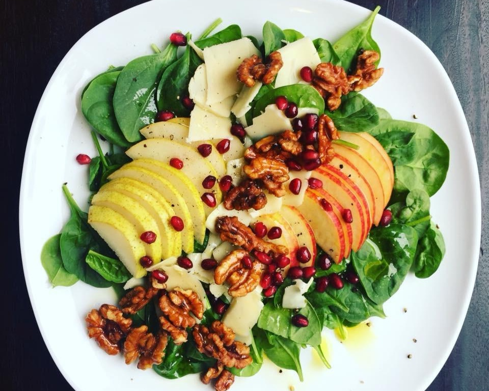 DRM Pear & Apple Salad made with your choice of a homemade apple or fig balsamic vinaigrette.