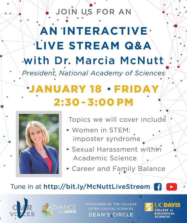 I'm looking forward to our conversation with Dr. Marcia McNutt. Tune in to join the talk. More about this - link in bio . . . . #ucdavis #engineering #stem #womeninstem #PhDtalks #interview