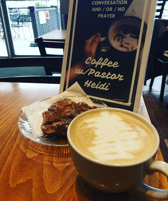 These are a few of my fav things...Coffice Hours, Apple Fritter & a Ravenclaw Latte @gatheringgroundscafe!  Come say hi!  #churchwithoutwalls #harrypotter #coffee #directtrade #gmu