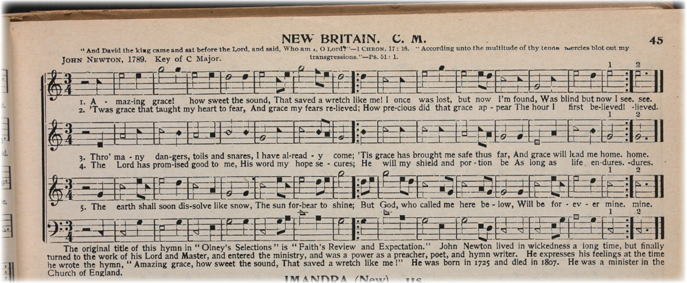 Detail from a page from an early edition of  The Sacred Harp , a shape-note hymnal. Source: The Library of Congress (   loc.gov/item/ihas.200038829 ).
