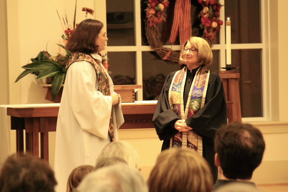 Pastor Keseley and Rabbi Perlin during the joint Thanksgiving Eve service at Abiding Presence this past year.