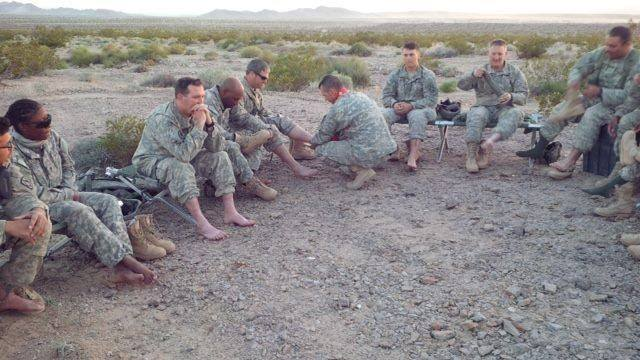 A military chaplain washes the feet of members of the U.S. military. On Maundy Thursday, we remember Jesus' commandment to love one another. As Jesus washed the feet of his disciples, we are called to follow his example as we humbly care for one another.  Photo Credit: ELCA Facebook Page