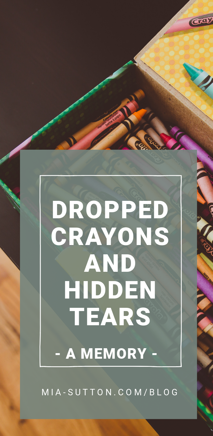 Dropped crayons and hidden tears - a memory of an introverted kid at a new school. Read more at mia-sutton.com/blog