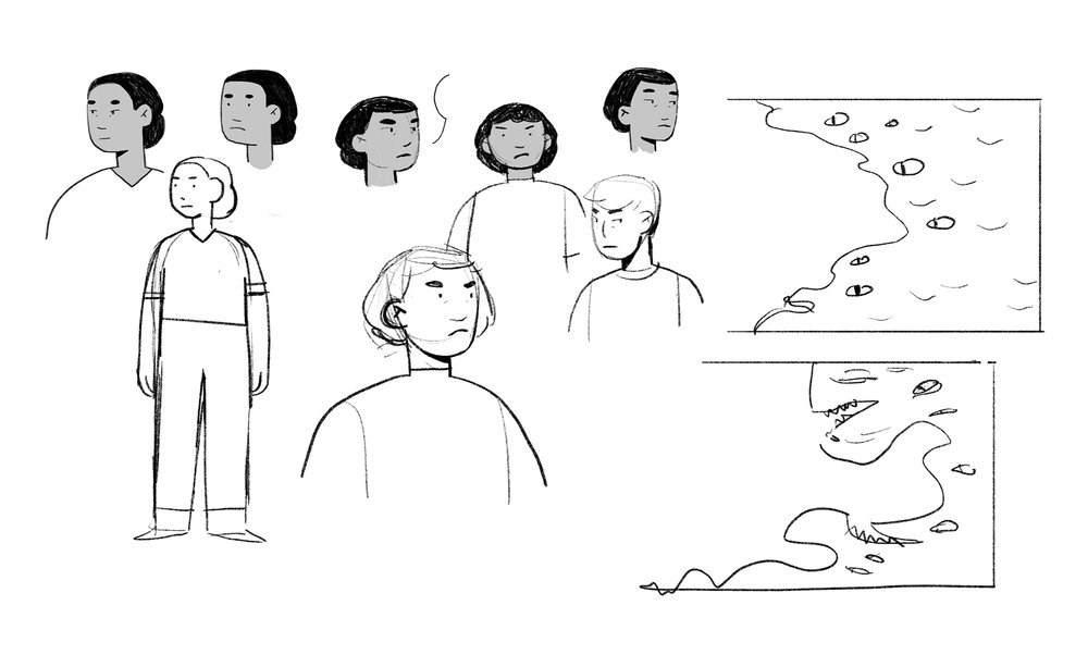 some exploratory sketches for the main character and monster