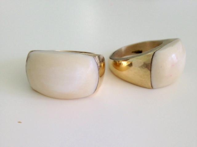 Plume Brass & Bone Ring