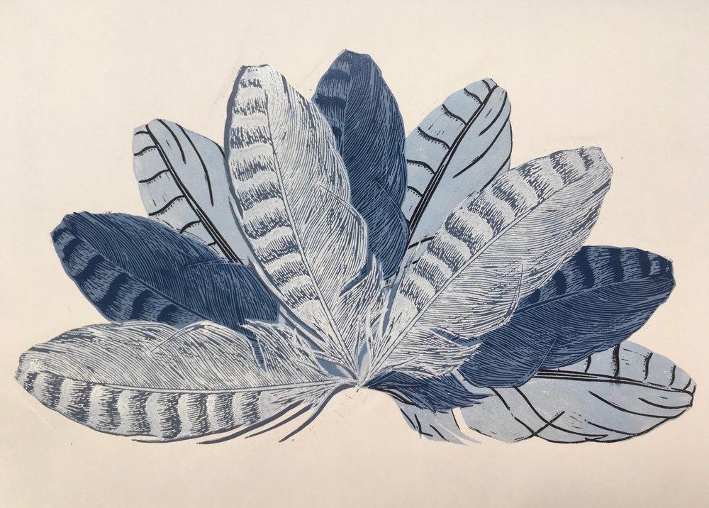 'Vlinderveren', kleurenlino op papier, 2018