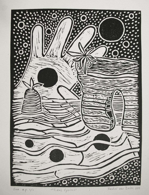 'Tidal Cycles', linodruk, 2014