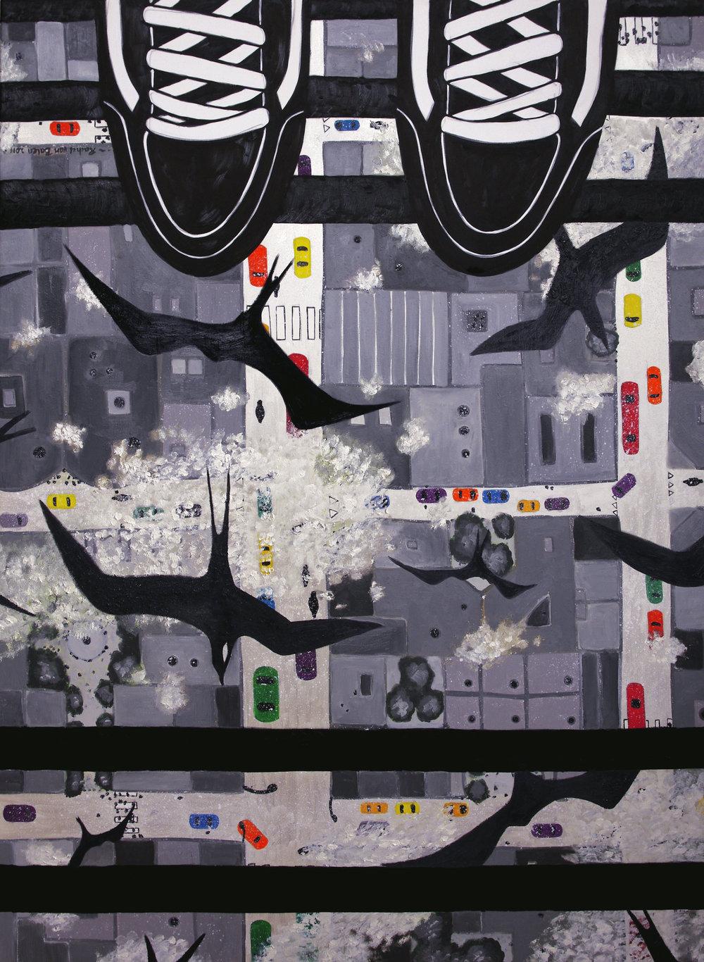 'Cityscape', olieverf op doek, 165x120cm, 2012