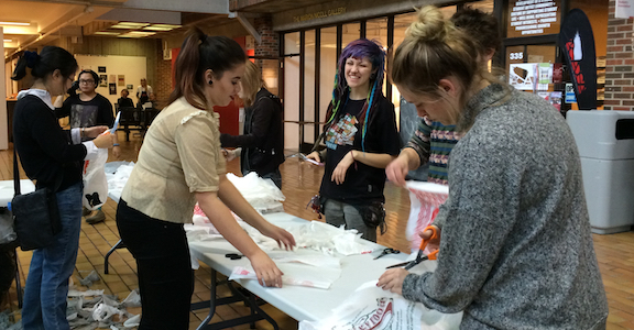 Students at the Alberta College of Art and Design work with plastic bags.