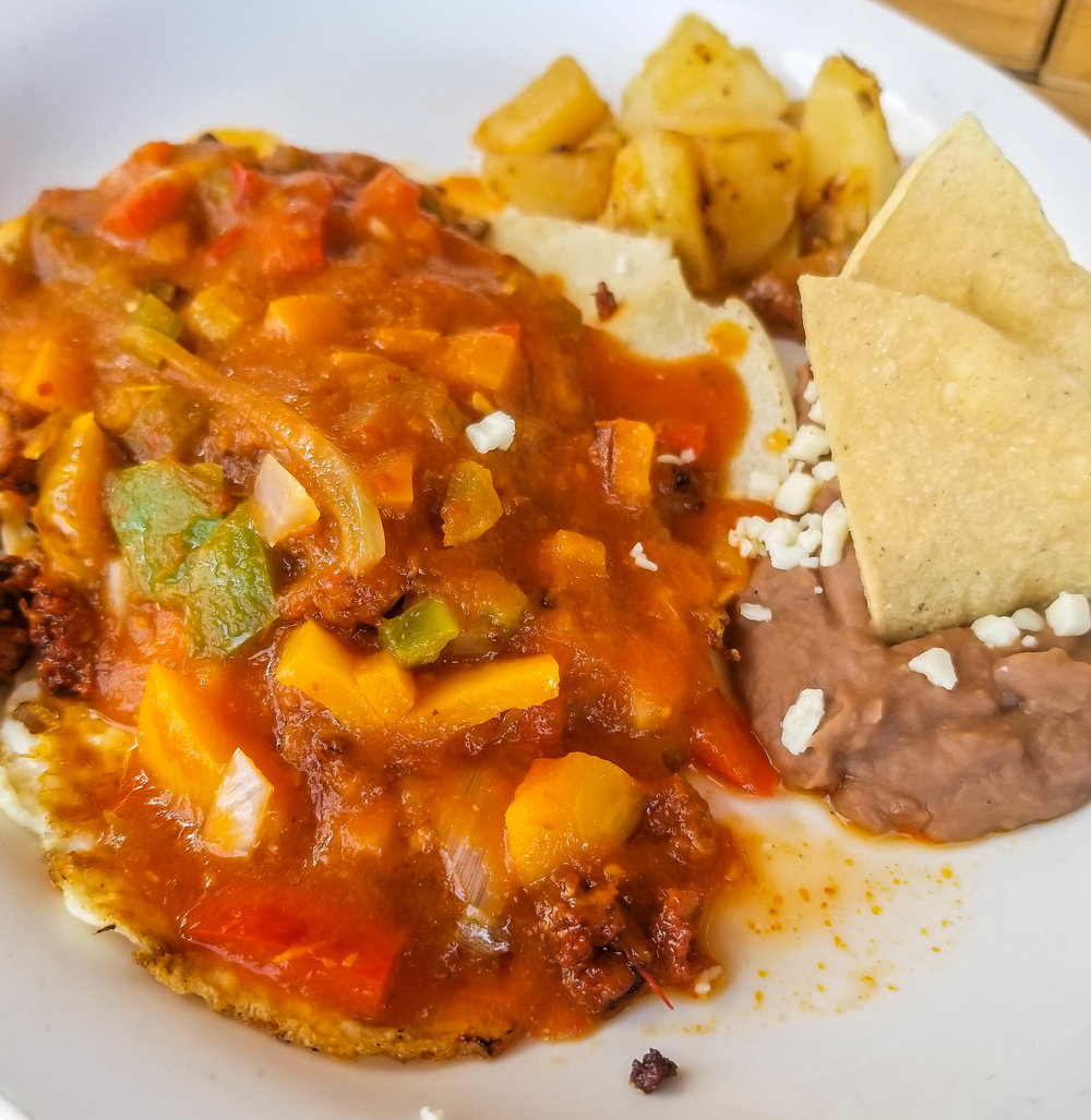 Rancheros breakfast at Victtoria Cafeteria in Cabo