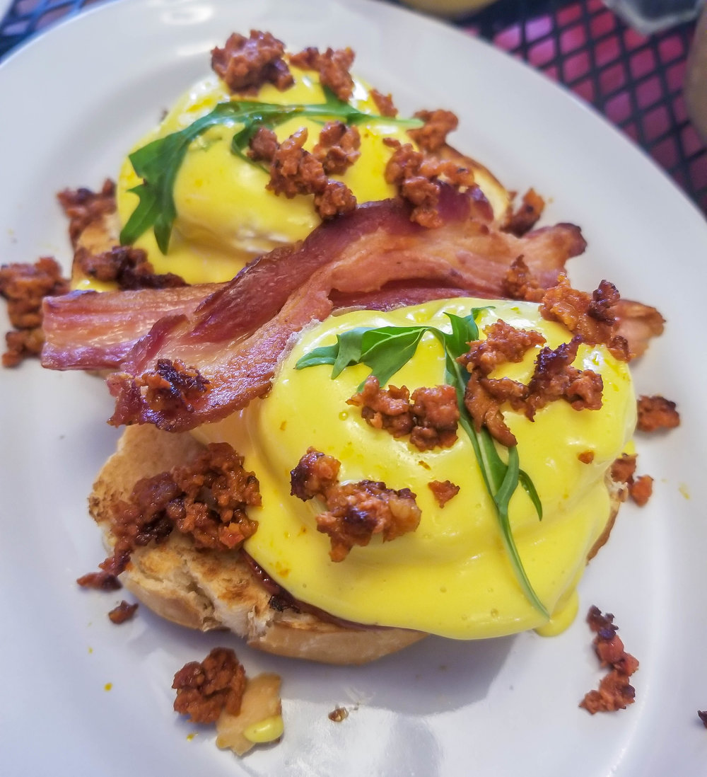 Chorizo-sprinkled eggs Benedict from Casasola Cafe in Cabo
