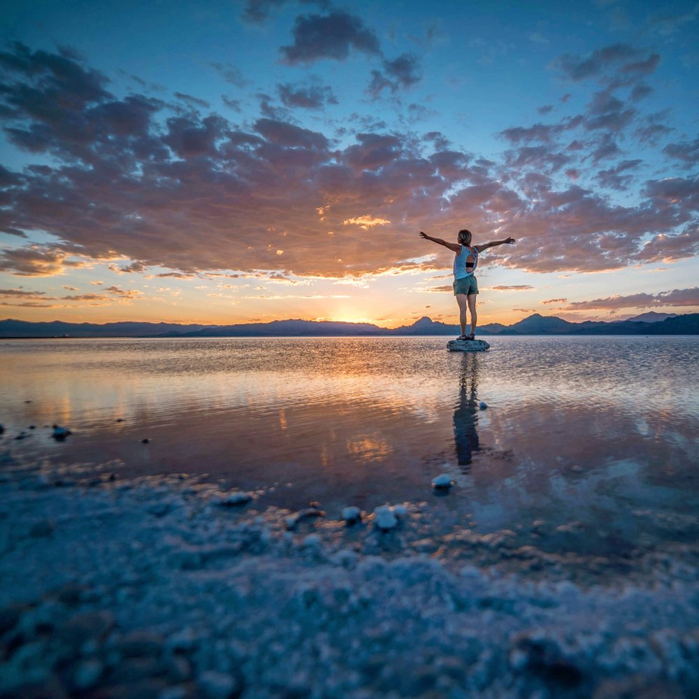taking in the sunset at Bonneville Salt Flats